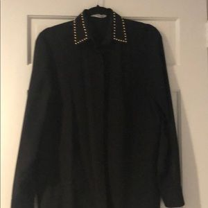 Givenchy Silk Blouse with Gold collar detailing
